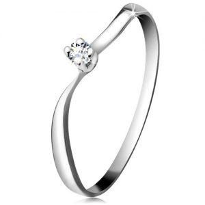 Diamantový prsteň z bieleho 14K zlata - ligotavý briliant v kotlíku